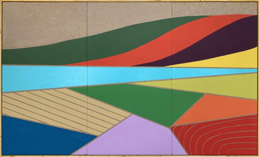 Il Tevere con i campi arati - cm 122x204